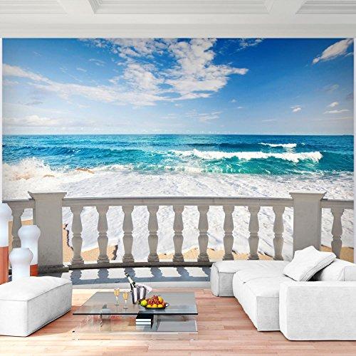 Fototapete Strand Meer 352 x 250 cm Vlies Wand Tapete Wohnzimmer Schlafzimmer Büro Flur Dekoration Wandbilder XXL Moderne Wanddeko - 100% MADE IN GERMANY - Wasser Blau Sand - Runa Tapeten 9028011a