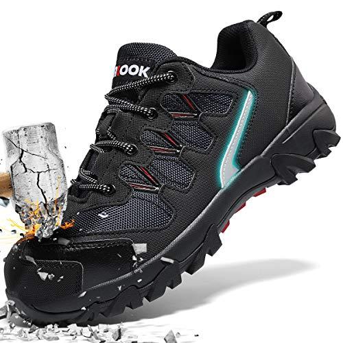 ASHION Stahlkappe Sicherheitsschuhe Herren, Industrie Handwerk Schuhe Atmungsaktiv Leichte Reflektierende Arbeitsschuhe(A-Schwarz,42 EU)