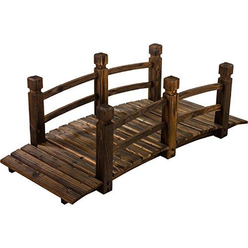Rustikale massive Holzbrücke, braun, 150 x 67 x 55 cm, geölt und brandbehandelt, bis 150 kg belastbar