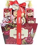 BRUBAKER Cosmetics Bade- und Dusch Set 'Garden Rose' floraler Rosen- und Veilchen Duft - 7-teilig - Vintage Flower Geschenkset mit Massage-Acryl