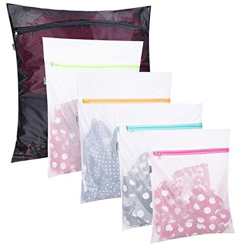 Amazon Marke: Eono Essentials 5 Set Wäschenetz für Waschmaschine, Dessous und Feinwäsche Wäschesack, Wäschebeutel aus Netzstoff Set mit Reißverschluss, ideal für Alle Arten von Kleidung, BHs, Schuhen
