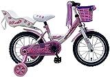 14 Zoll Fahrrad Rücktritt Stützräder Korb Kinderfahrrad Mädchen Pink Rose 81403