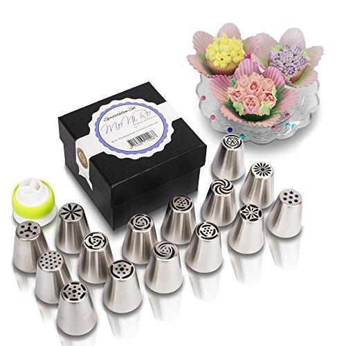 MoNiRo Spritztüllen Set aus Edelstahl | 15 Russische Russische Tüllen + Silikon Spritzbeutel | Deko Backset | Aufsätze für Torten, Cupcakes, Kuchen