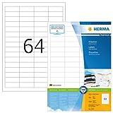 Herma 4271 Universal Etiketten (48,3 x 16,9 mm) weiß, 6.400 Aufkleber, 100 Blatt A4 Premium Papier matt, bedruckbar, selbstklebend