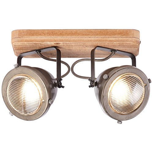 Spotbalken, 2-flammig, 2x GU10 max. 5W, Metall/Holz, burned steel/holz