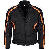Limitless Herren Motorradjacke mit Protektoren und Reflektoren - Textil Motorrad Jacke aus Cordura - wasserdicht Winddicht Schwarz Orange 784 Gr. 4XL