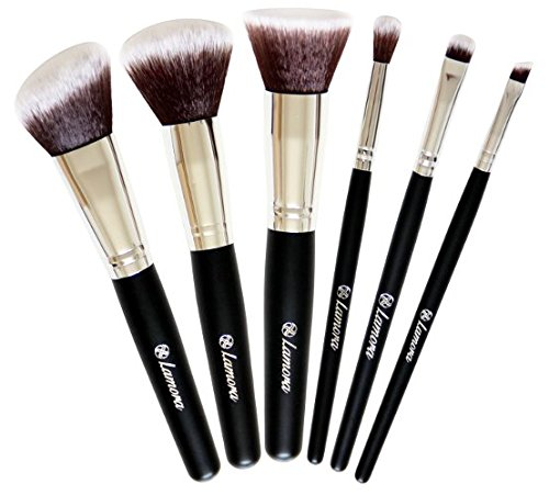 Make Up Pinsel Set - Kabuki Pinsel Puderpinsel Rougepinsel Lidschattenpinsel - 6 Teiliges Premium Pinselset in Schwarz