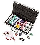Philos 3757 - Pokerchips, Aluminiumkoffer, rot/blau/grün/schwarz/grau