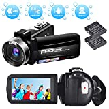 Videokamera Camcorder Full HD 1080P 30FPS Digitale Videokamera HD 24.0MP Serienbild Mini Videokamera mit 3 Zoll drehbarer Bildschirm Webcam-Funktion