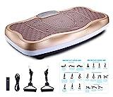 FITODO Vibrationsplatte Power Plate Vibrationstrainer Für Ganzkörper Training——Fernbedienung/Bluetooth Musik/Widerstandsbänder/Geschwindigkeits Einstellbar (Maximal belastung 150kg, Gold-W)