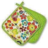 KAMACA Originelle Küchen-Serie ' FLOWER POWER ' - zur Auswahl : Topflappen oder Backhandschuhe oder Schürze , wunderschönes farbenfrohes Blumen - Motiv - hochwertig , mit Baumwolle , eine schöne kleine Geschenk - Idee - NEU aus dem KAMACA-SHOP (2 x Topflappen (=1 Paar))