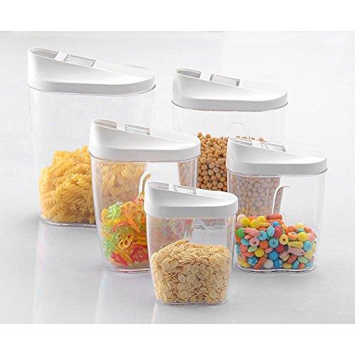 Xrten 5 Stücke Schüttdosen Vorratsdosen Set aus Kunststoff,Vorratsbehälter Cerealiendosen