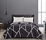 DecoKing 40959 Tagesdecke 170x270 cm Graphit weiß Bettüberwurf zweiseitig Steppung pflegeleicht geometrisches Muster grau Stahl anthrazit Home