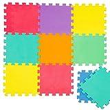 LittleTom Puzzlematte Spielmatte Uni Bunt 10-tlg. Spielteppich Schaumstoff Puzzle Kinderteppich