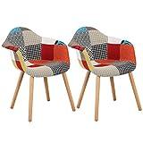 WOLTU BH37mf-2 Esszimmerstühle 2er Set Esszimmerstuhl mit Lehne Design Stuhl Küchenstuhl Holz