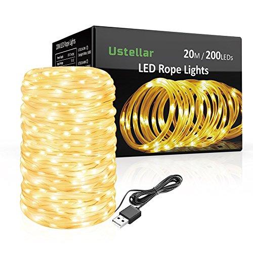 Ustellar 20m LED Lichterschlauch 200 LED USB Lichtschlauch , IP65 Wasserdicht Warmweiß Dekolicht , für Außen Innen Weihnachten DIY Deko Hochzeit