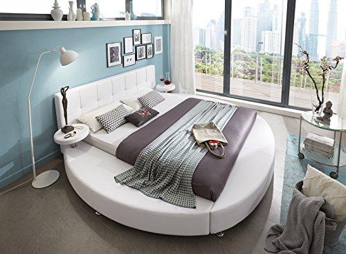 SAM Polsterbett 140x200 cm, weiß, Rundbett mit gepolstertem Kopfteil, Bett mit Nachttischen, als Wasserbett verwendbar [520949]