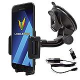 mobilefox 360° KFZ Handy Saugnapf Halterung + Micro-USB Ladekabel + C Adapter Auto Windschutzscheiben Halter Set für Samsung Galaxy A3 A5 (2017) A6 A8 J6 Note 8 9