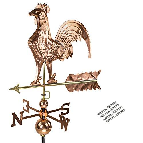DEMA 3D Wetterfahne Hahn aus Kupfer mit Fuß