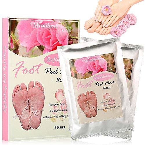 Fußmaske, Peeling Socken, Foot Mask, Exfoliating Socks, Rose Fuss Maske, Entfernt natürlich abgestorbene Haut und Schwielen für die Füße glatt und zart wie Samt für Männer Frauen - 2 Paar