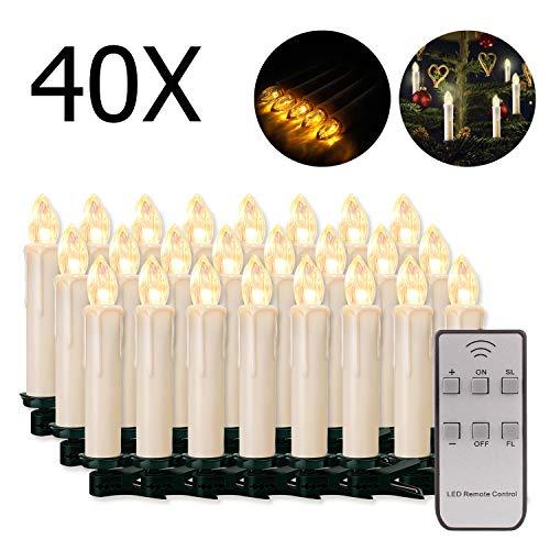 20/30/40/50/60 stk LED Kerzen LED Lichterkette Kabellos Dimmbar Kerzenlichter Flammenlose Weihnachtskerzen für Weihnachtsbaum, Weihnachtsdeko, Hochzeit, Geburtstags, Party (milchweisse Hülle, 40stk)