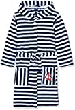 Playshoes Kinder Fleece-Bademantel Ringel Maritim Bademantel mit Kapuze, Blau (Marine/Weiß 171), 98/104