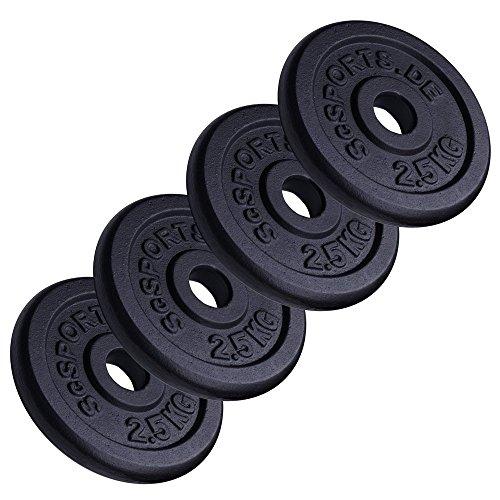 Scsports 10 kg Hantelscheibenset, 4 x 2,5 kg, Gusseisen Gewichte, 30/31 mm Bohrung
