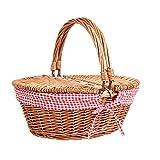 Display4top Oval Country Style Korb Picknickkorb mit Klappgriffen & Linern für Picknicks, Partys und BBQs - 40cm (L) x 30cm (B) x 20cm (H)