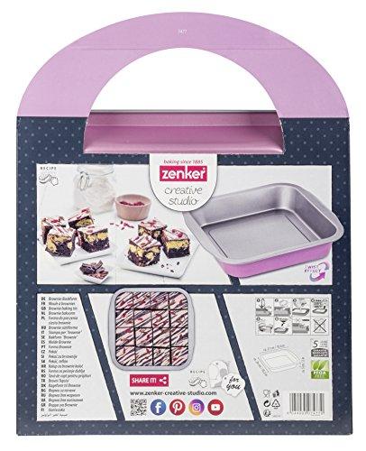 Zenker creative studio Brownie-Backform, Schokoladenkuchen Backblech mit Antihaftbeschichtung, Kuchenform: ca.270x260x50mm, kreatives Backen (Farbe: rosa, silber), Menge: 1 Stück
