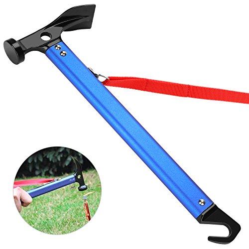 Tagvo Camping Hammer, Multifunktions Outdoor Camping Mallet Aluminium Zelt Hammer mit Zelt Stake Remover - Blaue Farbe