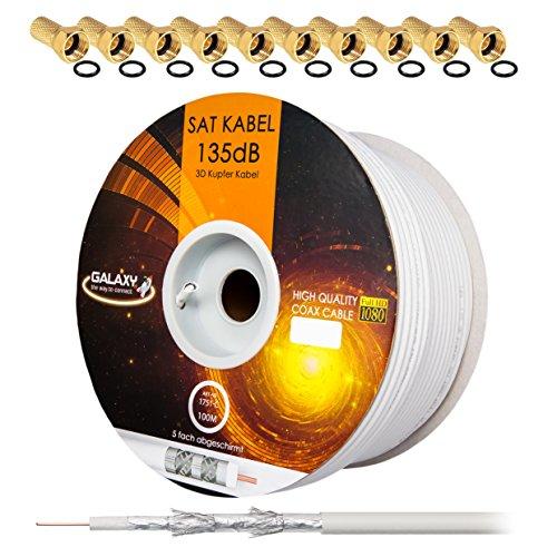 135dB 100m Koaxial SAT Kabel Reines KU Kupfer Koax Kabel Antennenkabel 5-fach geschirmt für DVB-S / S2 DVB-C und DVB-T BK Anlagen + 10 vergoldete F-Stecker mit Gummiring SET Gratis dazu von HB Digital