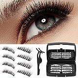 Wesimplelife Magnetische Falsche Wimpern, 3D Magnet Wimpern Set, Wiederverwendbare Kunstfaser Künstliche Wimpern mit Dual Magneten Kein Kleber Wimpernverlängerung für Make-up(4 x 2 Paar)