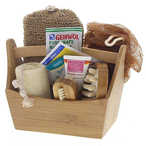 Kleines Bade- und Pflegeset im Zuber aus Bambus Schwamm, Nagelbürste, Luffagurke, Cellulitebürste