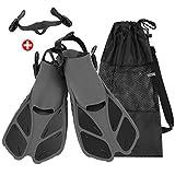 Qkurt Light Weight Travel Tauchflossen, Gratis-Tauchfins mit Mesh Bag und Extra Buckle Connector für Männer und Frauen