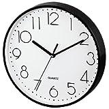 Hama Wanduhr ohne Ticken PG-220 (modern, geräuscharm, großes Ziffernblatt mit 22 cm, u.a. geeignet für Küche) schwarz
