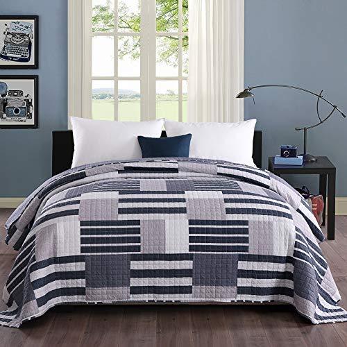 WOLTU #1077-2, Tagesdecke Bettüberwurf Steppdecke Patchwork Wendedesign Bettdecke Stepp Decke Doppelbett unterfüttert und gesteppt