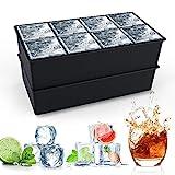 Eiswürfelform Silikon XXL, HOMMINI 8-Fach Silikon Eiswuerfel Form Ice Cube Tray, Eiswürfelbehälter Kühl Aufbewahren, LFGB Zertifiziert und BPA Frei, Schwarz (2er Pack)