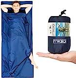 MIQIO 2in1 Hüttenschlafsack mit durchgängigem Reißverschluss (links oder rechts): Leichter Komfort Reiseschlafsack und XL Reisedecke in Einem - Sommerschlafsack Innenschlafsack Inlett Inlay