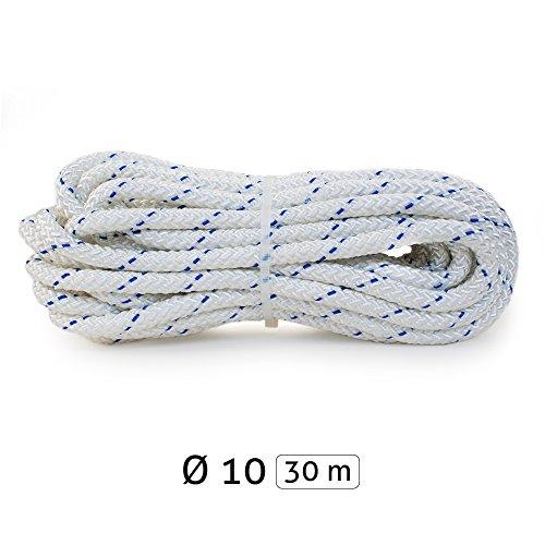 Yachtglanz R.G.. - Festmacherleine | Ankerleine | ø10 mm - 560 kg Bruchlast | aus Polyester | in Weiß mit Blauem Kennfaden | Seil | Tau (30 m)
