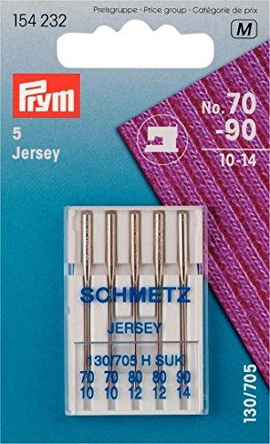 Prym 154232 Nähmaschinennadeln Jersey 70-90, 130/ 705, 5 Stück Nähmaschinennadel, Stahl, silber, 3,0 x 0,3 x 0,3 cm