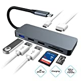 USB C Hub 7 in 1 Aluminium Type-C zu HDMI 4K Adapter, mit USB-C Port, Datenübertragung, SD-Karte, TF-Kartenleser für New MacBook/MacBook Pro 2016/2017, HP Spectre X360/Dell XPS, Samsung Galaxy S8