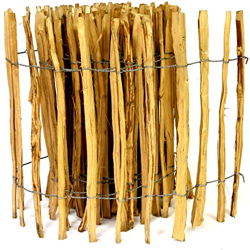 Kastanienzaun Staketenzaun aus Haselnuss in 26 Größen Höhen 50 cm - 150 cm Länge 5 / 10 Meter Zaun mit gut gespaltenen Stäben und sicheren Spitzen (Höhe: 80cm X Länge: 500cm, Lattenabstand: 7-8 cm)