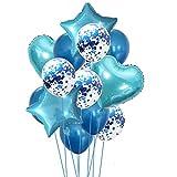 Yalulu 14 Stück Konfetti Luftballons Folienballon Herz Star Ballon Luftballons Latex Helium Pailletten Ballon Für Geburtstagsfeier Hochzeit Party Valentinstag Dekorationen (Blau)