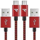 Micro USB Kabel [1M 2-Pack] - Rampow 3A [ Micro USB Schnellladekabel ]Nylon geflochtenes Samsung Ladekabel / Ladekabel Samsung - Lebenslange Garantie - High Speed Sync und Ladekabel - Rot