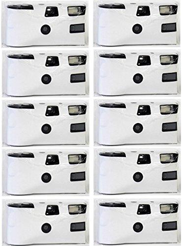 Hochzeitskamera 'White Cam - zum selber gestalten' - 10er Pack Einwegkamera mit Blitz (27 Aufn. 400 ASA)