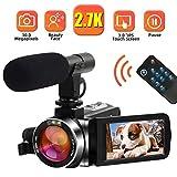 Camcorder Videokamera 2.7K 30MP Camcorder Full HD mit Mikrofon Digitalkamera für YouTube mit Pausenfunktion Drehbarer 3,0-Zoll-Touchscreen Videokamera