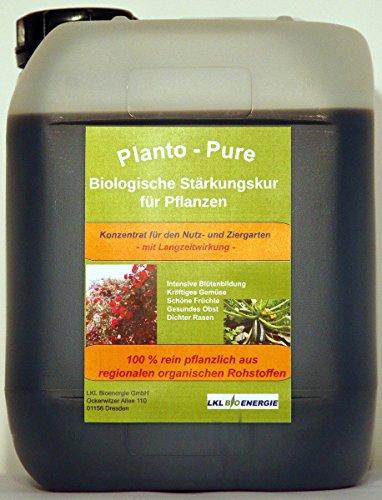 Planto - Pure - Naturdünger für Rasen, Rosen, Obst, Gemüse und Zierpflanzen - Rein biologische Stärkungskur mit hochwertigen Nährstoffen - Qualität aus Deutscher Produktion, 5 Liter Vorratskanister