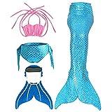 Mädchen Bikini Badeanzüge Meerjungfrauenschwanz zum Schwimmen mit Meerjungfrau Flosse Schwimmen Kostüm Bademode Meerjungfrauenschwanz Schwanzflosse niedlich Muschelbikini…, Blau, 12 (130-140cm)