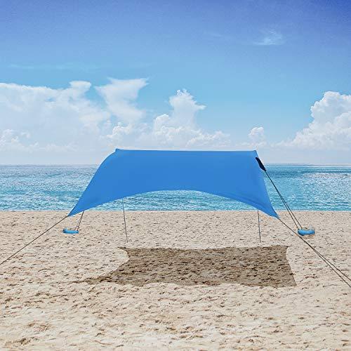 MENCOM Strandzelt Beach Zelt, Anti UV SPF50 Strandmuschel mit Sandsäcken Anker, Großer Unterstand für Kinder & Familie am Strand, Parks, Camping & Outdoor