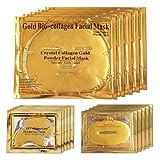 24K Gold Gel Kollagen Gesichtsmaske, Gesichtsmasken + Gel Kollagen Augenmaske + Lippenpflege-Gel-Masken 5 Set-Pack für Anti-Aging- und Feuchtigkeitsspender, reduziert Augenringe